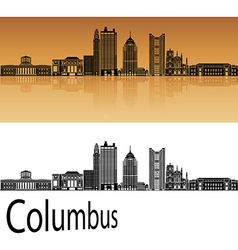 Columbus skyline in orange vector image