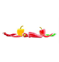 Different sorts of hot peppers in all colors vector
