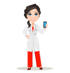 doctor woman with stethoscope cute cartoon vector image vector image
