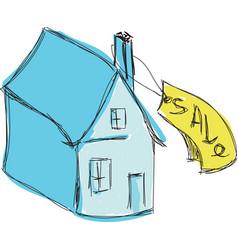Drawn colored blue house for sale vector