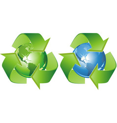 Ecological symbol - earth surrounded with green vector