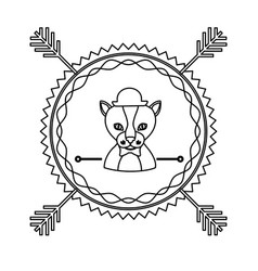 emblem cat hunter hipster city icon vector image