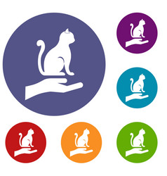 hand holding a cat icons set vector image