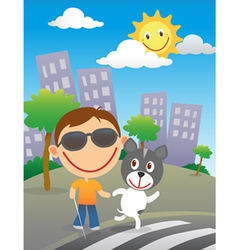 Happy blind child with his guide dog vector image