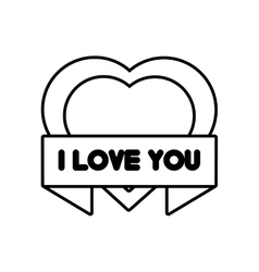 Heart i love you ribbon outline vector