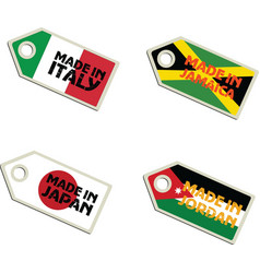 Label made in italy jamaica japan jordan vector