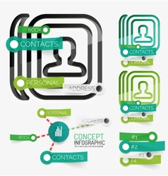 Minimal contact book infographic vector