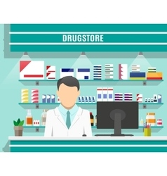 Modern interior pharmacy with male pharmacist vector image vector image