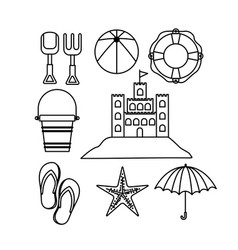Monochrome silhouette with objects set for fun in vector