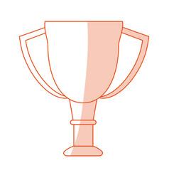 Orange shading silhouette cartoon cup trophy vector