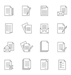 Outline document icon set vector image