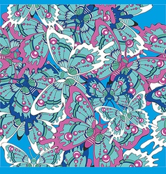 Pattern with butterflies on a blue background vector