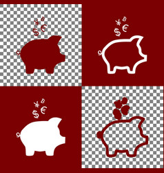 Piggy bank sign with the currencies bordo vector