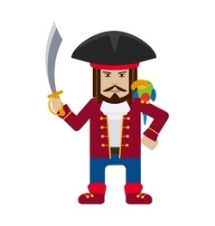 Pirate captain with parrot cartoon flat vector