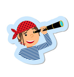 pirate with spyglass isolated sticker vector image