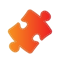 Puzzle piece sign orange applique isolated vector