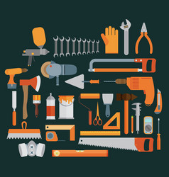 repair and construction with working tools icons vector image vector image