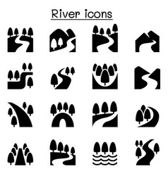 River lake canal nature icons set vector