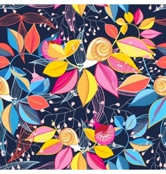 seamless pattern of colored leaves and snails vector image