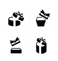 Set black gift icons open gift box top view vector