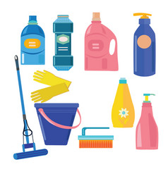 Set of cleaning tools vector