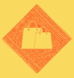 Shopping bags sign red scribble icon vector