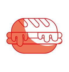 Silhouette delicious hamburger unhealthy fast food vector