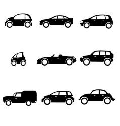 Six car shapes vector image