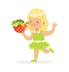 sweet blonde little girl running with bowl full of vector image
