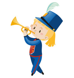 Trumpet player wearing band uniform vector