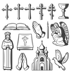 vintage religious elements collection vector image