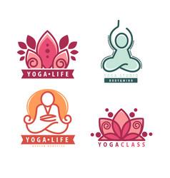 yoga monograms and logos set vector image vector image