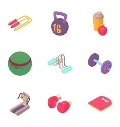 Active fitness icons set cartoon style vector
