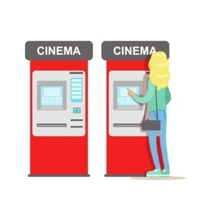 Woman buying tickets in cinema automatic vending vector