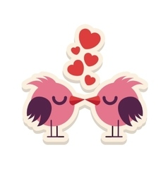 Greeting card love birds kissing happy valentine vector