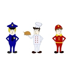 Professions policeman cook fireman vector