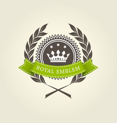 Royal emblem template with laurel wreath vector
