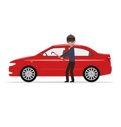 Cartoon robber steals a car vector