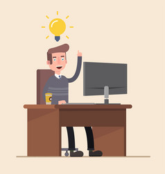 office worker is happy with the new idea of a vector image