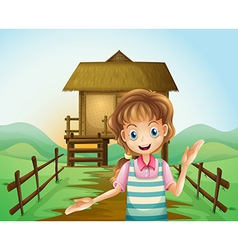 A girl in front of the nipa hut vector
