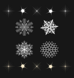 Set of snowflakes and stars icons vector