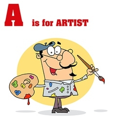 Cartoon artist with letter vector