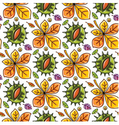 autumn seamless pattern with leaves and chestnut vector image