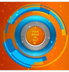 3D tech circle frame on a orange background vector image