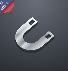 Magnet horseshoe icon symbol 3d style trendy vector