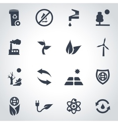 Black eco icon set vector