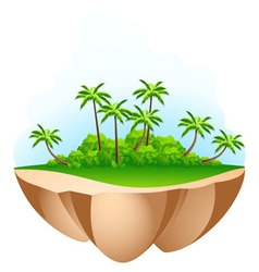 Green palm tree island vector