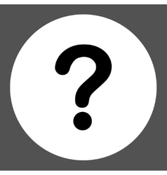 Question flat black and white colors round button vector