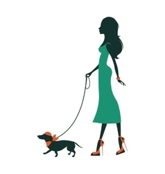 A beautiful woman with dachshund vector