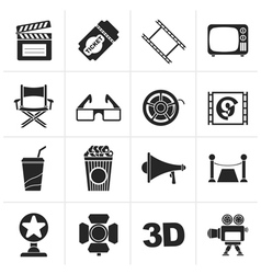 Black cinema and movie icons vector